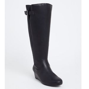 Torrid black faux leather 9.5W tall wedge boot